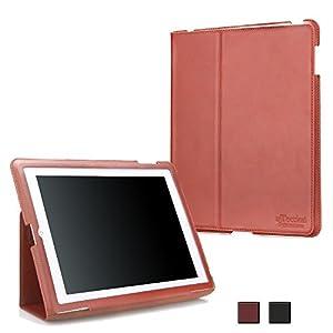 """uTection """"Slim"""" Apple iPad 2, 3, 4 Hülle echt Ledertasche mit Stand- und Wake-up/Sleep Funktion  Braun"""