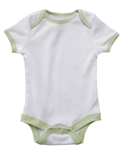 Bella 102 Infant'S S-Sleeve Contrast Two-Tone One-Piece - White/Pale Green - 12-18Mos