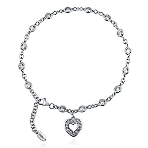 BERRICLE Sterling Silver Cubic Zirconia CZ by Yard Heart Fashion Charm Anklet 9