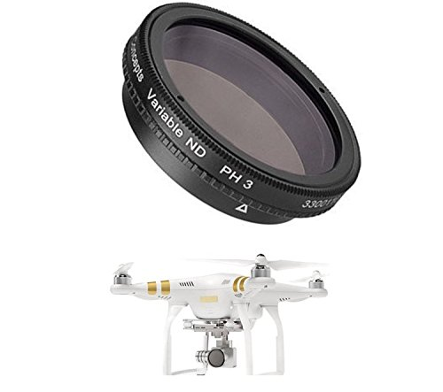 Variable Neutral Density Filter DJI P4 P3A P3P DJI Phantom 4 Phantom 3 Advanced Professional Quadcopter 4K UHD Video Camera Drone - Adjustable ND Filter from ND2 to ND400 (Singh Ray Variable Nd Filter compare prices)