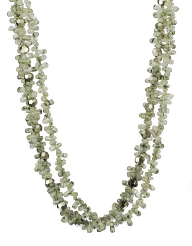 3-Row Rutilated Quartz Drops and Faceted Cut Glass Bead Necklace, 18