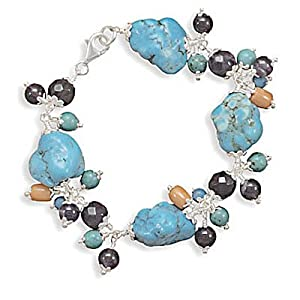 7.5 Inch Turquoise Nugget Bracelet with Amethyst, Coral and Turquoise Beads