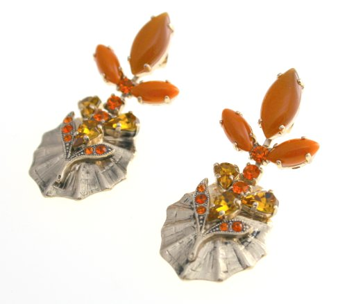 Amaro Jewelry Studio 'Coral Energy' Collection 24K Rose Gold Plated Dashing Dangle Earrings Made with Tear Drops and Leaf Elements, Accented with Carnelian, Jasper Brecciated, Red Sardonyx, Coral and Swarovski Crystals