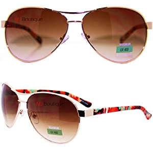 MJ Boutique's Floral Aviator Sunglasses Gold & Red