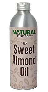 Natural Sweet Almond Oil - 200ml - With moisturizing, nourishing properties for skin and hair use, from Natural Pure Body. Use as a carrier oil in aromatherapy or as a luxurious massage oil. Enrich your life with our premium quality 100% cold pressed almond oil now!