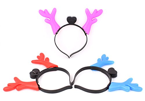 Uspro® 3 Pack(Red*1 Pink*1 Blue*1) Kids Xmas Gift Reindeer Head Hair Band Led Flashing Light Christmas Costume Hoop