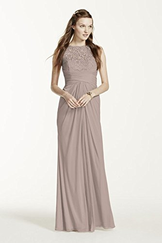Sleeveless Long Mesh Bridesmaid Dress with Corded Lace Style F15749, Biscotti, 8