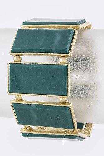Karmas Canvas Rectangle Stone Bracelet (Teal)