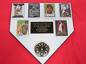 Cleveland Indians ALL TIME GREATS 6 Card Collector HOME PLATE Clock Plaque EXCLUSIVE... by J & C Baseball Clubhouse