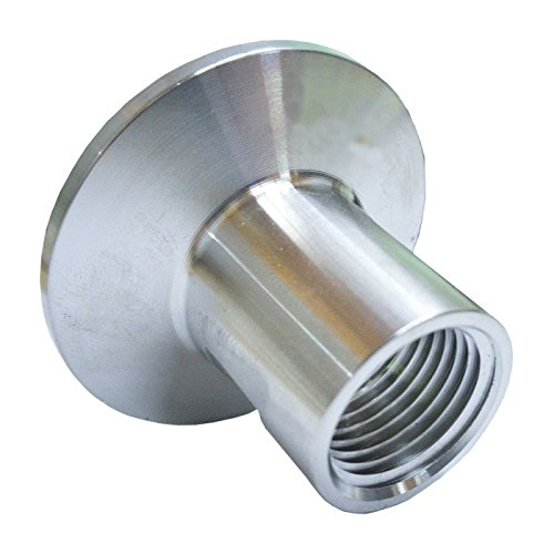 HomeBrewStuff Stainless Steel Sanitary 1/2″ Female Threaded Pipe Fitting x Tri Clamp Clover (50.5mm Ferrule)