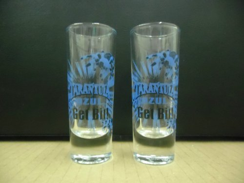 Set of 2 Original Tarantula Azul Tequila Get Bit Tall Shooter Shot Glasses