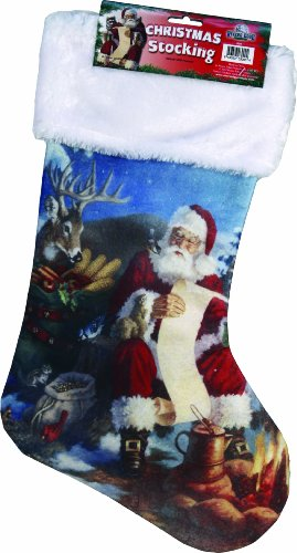 River's Edge Christmas Stocking with Fabric Hanging Loop-Camping Santa with Naughty/Nice List, 20-Inch (Fishing Stocking Stuffers compare prices)