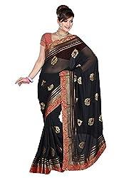 Fabviva Women's Chiffon Saree with blouse(Vnblack_Black)
