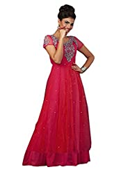 Shoppingover Hand Embroidered Gown in Red Color