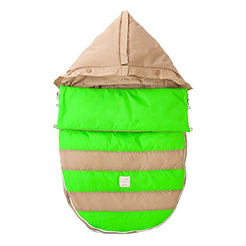 7AM Enfant Bee Pod Baby Bunting Bag for Strollers and Car-Seats with Removable Back Panel, Beige/Neon Green, Medium/Large