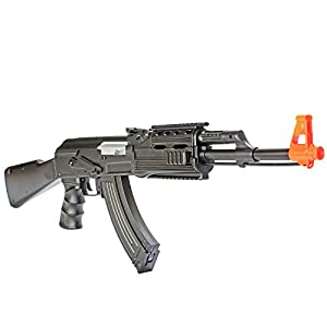 BBTac® AK47 Tactical Airsoft Gun Electric Gun AEG BT-022B (Black), with 500 round high capacity magazine, tactical rails, ergonomic grip, Airsoft Rifle LPEG with BBTac® Warranty & Tech Support