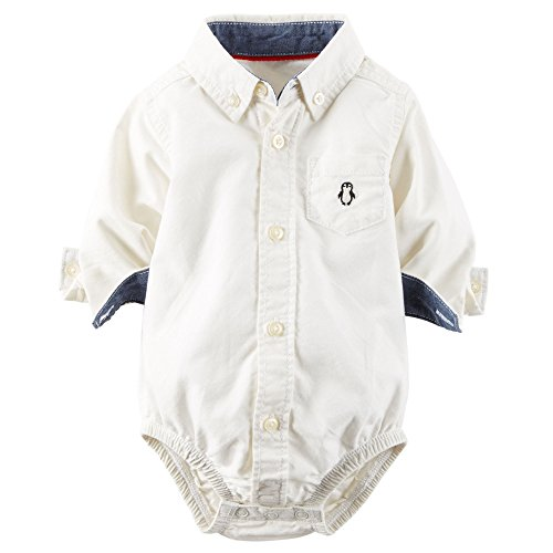 Carters Baby Boys Oxford Button-Front Bodysuit Ivory 24M
