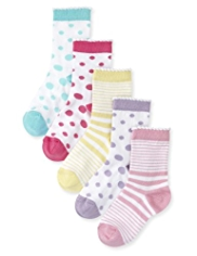 5 Pairs of Spotted & Striped Socks