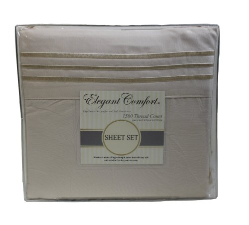 """Elegant Comfort ® 1500 Thread Count Wrinkle Resistant Ultra Soft Luxurious 4 Pcs Bed Sheet Set, Deep Pocket Up To 16""""- Many Size And Colors, California King, Beige front-1034264"""