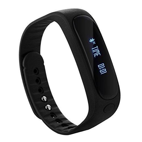 Tera E02 Smart Bracelet Bluetooth Sport Tracker d'activité étanche podomètre calories sommeil surveillance pour smartphone iphone samsung etc (noir)