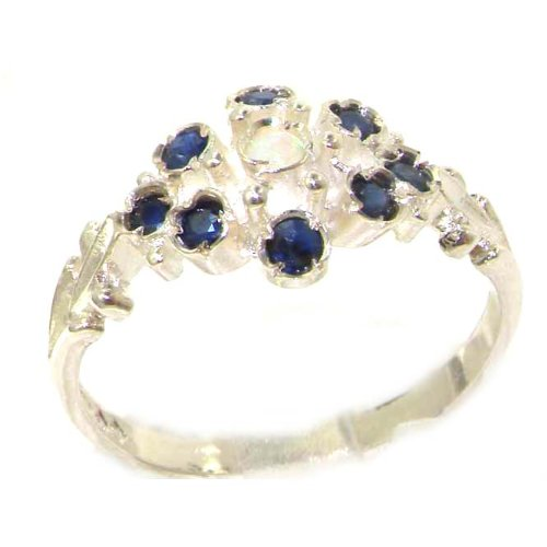 Unusual Solid Sterling Silver Natural Opal & Sapphire Ring with English Hallmarks - Size 12 - Finger Sizes 5 to 12 Available - Suitable as an Anniversary ring, Engagement ring, Eternity ring, or Promise ring