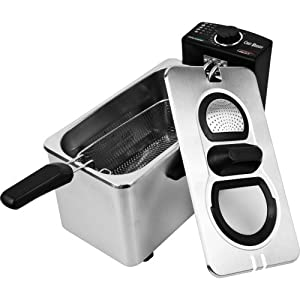 Chef Buddy Stainless Steel Electric Deep Fryer, 3-1 2-Liter by Chef Buddy