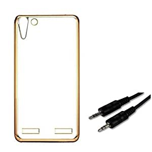 Johra Electroplated Gold Edge Clear Soft Transparent Back Case Cover Protector With Premium Auxiliary Aux Cable For Lenovo vibe K5