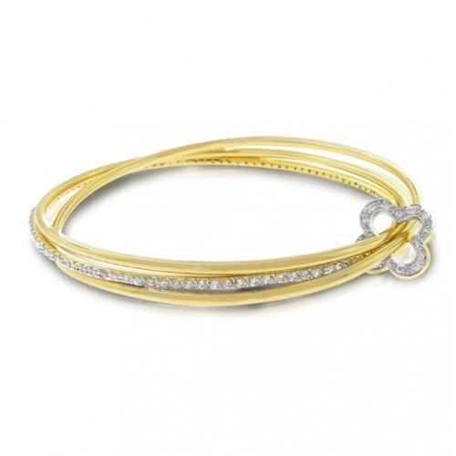 """Bling Jewelry Gold Vermeil CZ Clover Interlocking Bangle Bracelet 8"""" [Jewelry]"""
