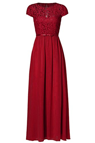 Ssyiz Women's Vintage Floral Lace Cap Sleeve Bridesmaid Maxi Evening Dress Burgundy M
