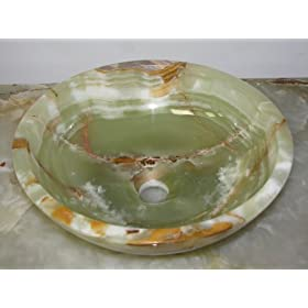 "14"" Round Green Brown Onyx Bathroom Sink Vessel Style Installation"