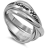 """STR-0021 Matte Finished """"Faith Love Hope"""" Stainless Steel Triple Band Ring Size 6-10; Comes Free Gift Box"""
