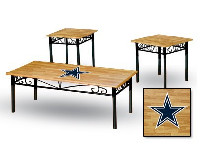 New 3 Piece Natural Finish Coffee & End Tables Set With A Dallas Cowboys Theme