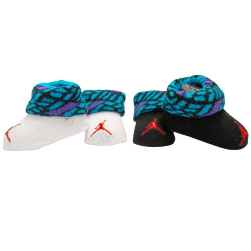 Nike Air Jordan 0-6 Months 2-Pair Newborn Infant Booties (Turquoise)
