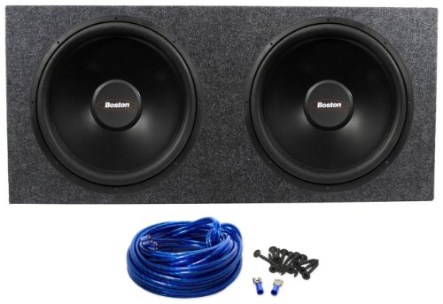 "Package: (2) Boston Acoustics G215-44 15"" 1200 Watt Dual 4 Ohm G2 Series Subwoofers + Rockville Rd15 Dual 15"" 2.1 Cu.Ft. Sealed Subwoofer Enclosure With Grade A 3/4"" Mdf + Dual Enclosure Wire Kit With 14 Gauge Speaker Wire + Screws + Spade Terminals"
