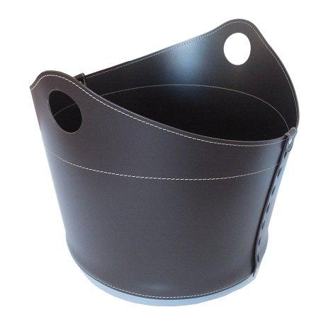 CADIN: borsa in cuoio portalegna e/o pellet, in cuoio rigenerato colore Testa di Moro, con ruote gommate.