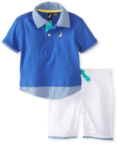 Nautica Baby-Boys Infant Solid Polo And Short 2 Piece Set, Royal, 18 Months front-1035386