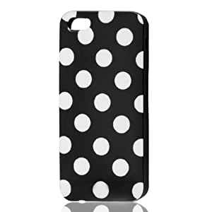 White Polka Dots Black Soft Plastic Case Cover for Apple iPhone 5 5G