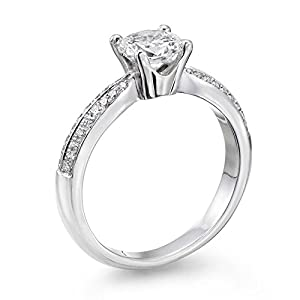 GIA Certified, Round Cut, Solitaire Diamond Ring in 14K Gold / White (1 ct, I Color, VVS2 Clarity)