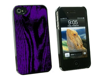 Wood Grain Purple - Snap On Hard Protective Case for Apple iPhone 4 4S - Black