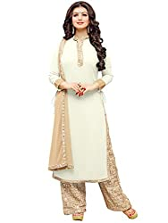 Inddus Women Off White & Beige Colored Georgette Ready To Stitch Salwar Kameez