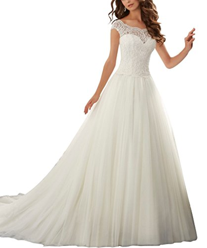Firose Simple Long A-Line Cap Sleeve Train Lace Wedding Dresses Elegant Prom Dress Ivory US 8