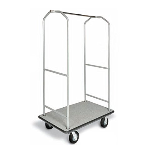 csl-2005bk-60-stainless-steel-economy-bellmans-cart-with-rectangular-gray-carpet-base-black-bumper-c