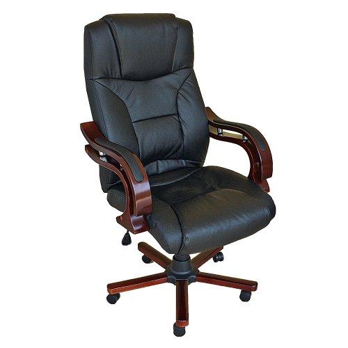 TecTake Poltrona sedia direzionale da ufficio con rivestimento di pelle Buffalo