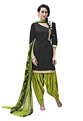 Ishin Cotton Black & Green Printed Unstitched Dress Material