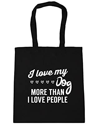 HippoWarehouse I love my dog more than I love people Tote Shopping Gym Beach Bag 42cm x38cm, 10 litres