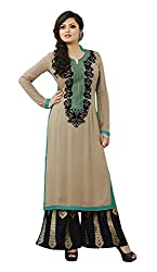 Adaa Women's Georgette Semi Stitched Dress Material (LT-62-05_Heather Brown_Free Size)