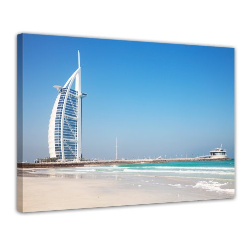 Bilderdepot24 Leinwandbild Burj al Arab Hotel in Dubai II - 70x50 cm 1 teilig - fertig gerahmt, direkt vom Hersteller