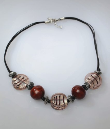 MyMela Animal Instinct Glass and Wood Beaded Necklace
