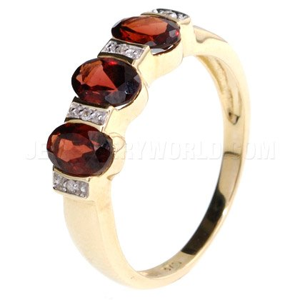 Garnet & Diamond 9ct Gold Oval Trilogy Ring