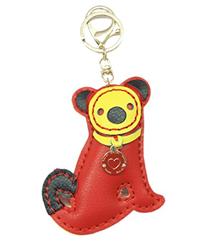 Young & Forever Cute Animal Handmade Leather Bag Charm Key Ring & Keychain Red By CrazeeMania